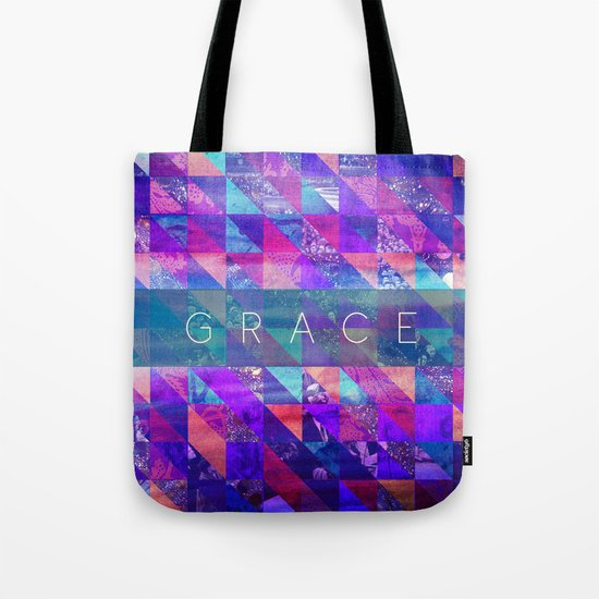 "2 Corinthians 12:9 ""Grace"" (purple triangles) Tote Bag"