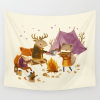 fall Wall Tapestries featuring Critters: Fall Camping by Teagan White