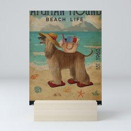Beach Life Sandy Toes Afghan Hound Mini Art Print