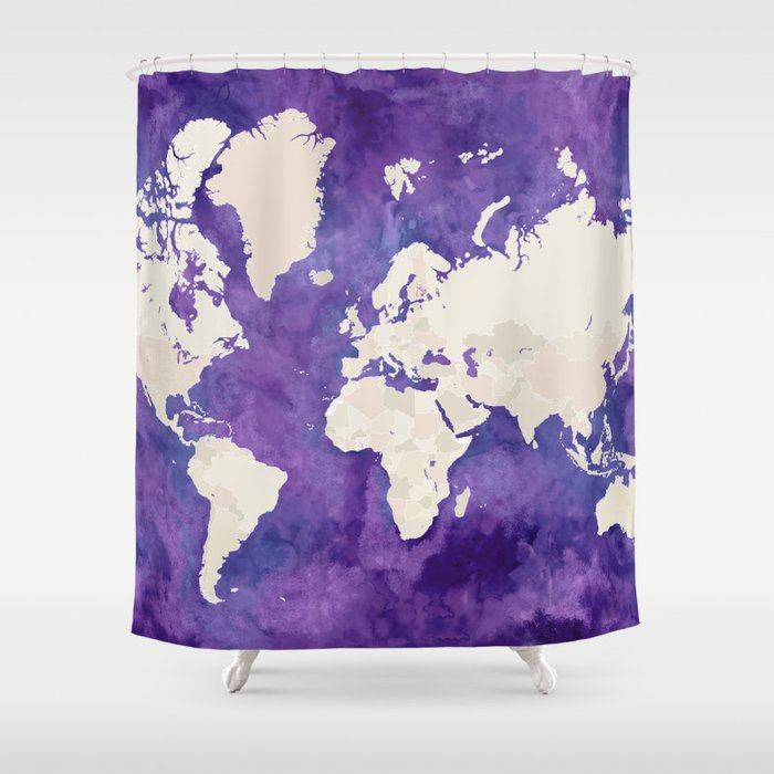 Purple Watercolor And Light Brown World Map With Outilined Countries Shower Curtain