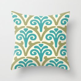 Floral Scallop Pattern Sage and Turquoise 2 Throw Pillow