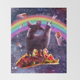 Space Sloth Riding Llama Unicorn - Taco & Burrito Throw Blanket