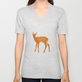 Baby Deer and Snow Unisex V-Neck