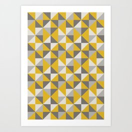 Retro Triangle Pattern in Yellow and Grey Art Print