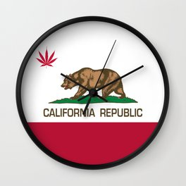California Republic state flag with red Cannabis leaf Wall Clock