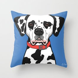 Dalmatian Art Poster Dog Icon Series by Artist A.Ramos. Designed in Bold Colors Throw Pillow
