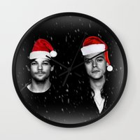 larry stylinson Wall Clocks featuring Larry Stylinson Christmas B&W by girllarriealmighty