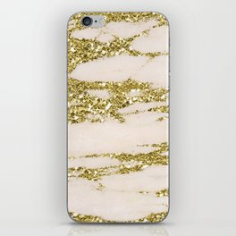 Marble - Gold Marble Glittery Light Pink and Yellow Gold iPhone Skin