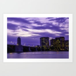 City at sunset Art Print