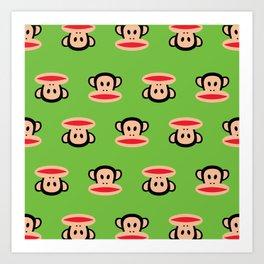 Julius Monkey Pattern by Paul Frank - Green Art Print