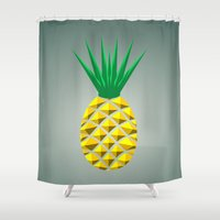 pineapple Shower Curtains featuring Pineapple by mailboxdisco