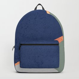 Navy Sage Gray Gold Geometric Backpack