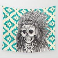calavera Wall Tapestries featuring Calavera Skull by MY  HOME