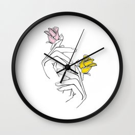 Hands With Flowers One Line Art Wall Clock
