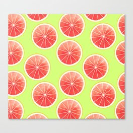 Pink Grapefruit Slices Pattern Canvas Print