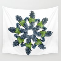 tits Wall Tapestries featuring Circling Blue Tits by BridJess