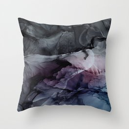 Moody Dark Chaos Inks Abstract Throw Pillow
