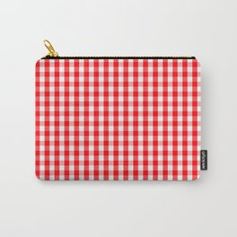 Christmas Red Velvet Large Gingham Check Plaid Pattern Carry-All Pouch