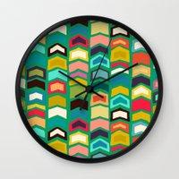 green arrow Wall Clocks featuring arrow pop green by Sharon Turner