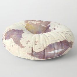 Old Watercolor World Map Floor Pillow