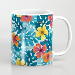 Tropical Hibiscus Pattern Summer Coffee Mug