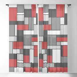 Mid Century Modern Color Blocks in Red, Gray, Black and White Sheer Curtain