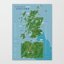 Whisky map of Scotland Canvas Print