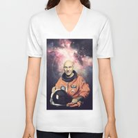 picard V-neck T-shirts featuring Captain Picard - Astronaut in Space by Nicholas Redfunkovich