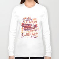 risa rodil Long Sleeve T-shirts featuring Library by Risa Rodil