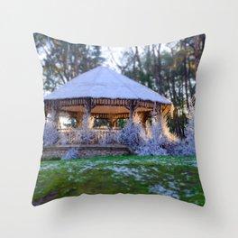 Kiosk in winter Throw Pillow