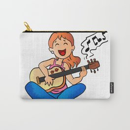 girl playing guitar cartoon Carry-All Pouch