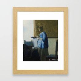 Letter reading woman - Johannes Vermeer (ca. 1663) Framed Art Print