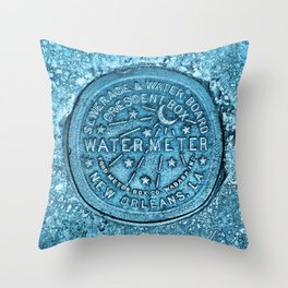 Blue Water Meter New Orleans Sewer Ford Louisiana Throw Pillow