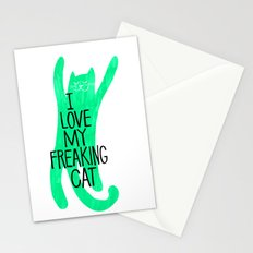 i love my freaking cat - green Stationery Cards