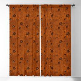 Burnt Orange Grunge Flowers and Hearts Pattern Gift Ideas Blackout Curtain