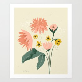 Fall Flowers from Pike- cream and pink Art Print