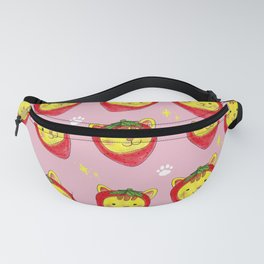Watercolor Painting Strawberry Cat Fanny Pack