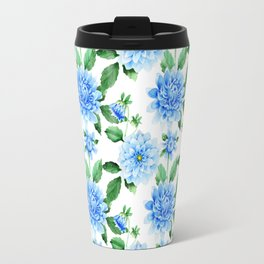 Hand painted sky blue green watercolor modern dahlia floral Travel Mug