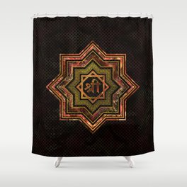 Red Gemstone and gold  Star of Lakshmi -  and Sri Shower Curtain