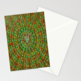 Abstract Green Red Yellow and White Stationery Cards