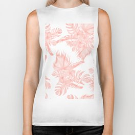 Tropical Hibiscus and Palm Leaves Coral White Biker Tank
