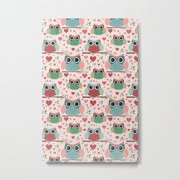 Owls in Love Pattern Metal Print