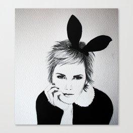 'Emma Watson' Bunny Ears Illustration Canvas Print