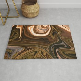 Gold Liquid Marble Swirling Pattern Texture Artwork #2 Rug