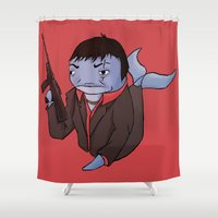 scarface Shower Curtains featuring Scarface Whale by CoolBreezDesigns