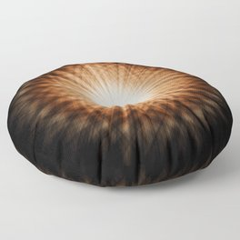 Amber and White Round Sunburst Abstract Floor Pillow