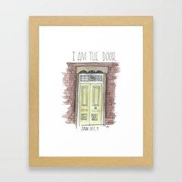 I am the door // watercolor bible verse john Framed Art Print
