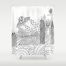 NYC Aliens Shower Curtain
