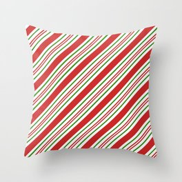 Red Green and White Candy Cane Stripes Thick and Thin Angled Lines Throw Pillow