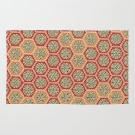 Hexagonal Dreams - Tangerine and Orange Rug